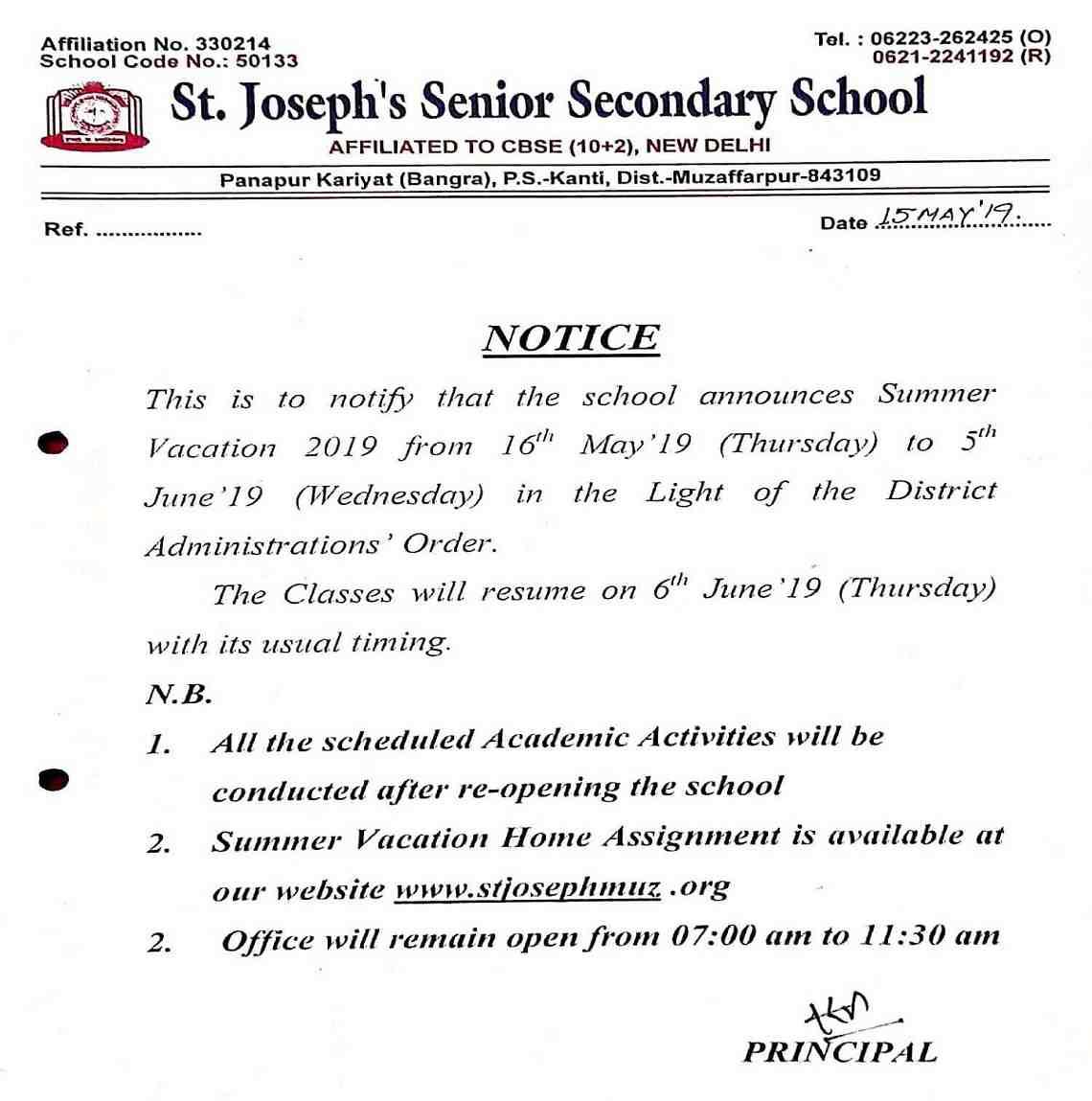 summer vacation 2019-20 notification St. Joseph's Sr. Sec. SchoolHostel, CBSE School affiliated school, Muzaffarpur Bihar